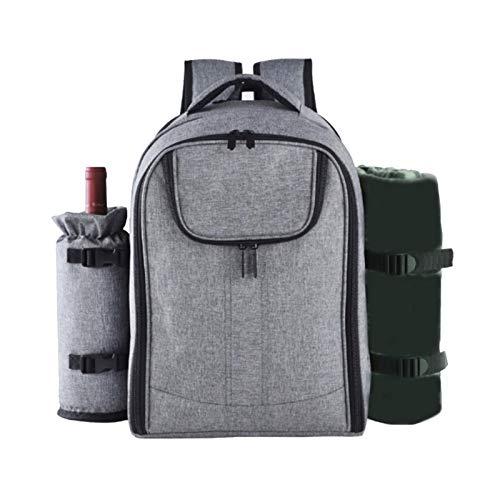 Yuxinkang Multifunktionaler Picknick-Rucksack für 4 Personen, tragbare Picknick-Tasche mit/ohne feuchtigkeitsbeständiger Unterlage, Geschirr-Isoliertasche Geeignet für Familien-Outdoor-Camping