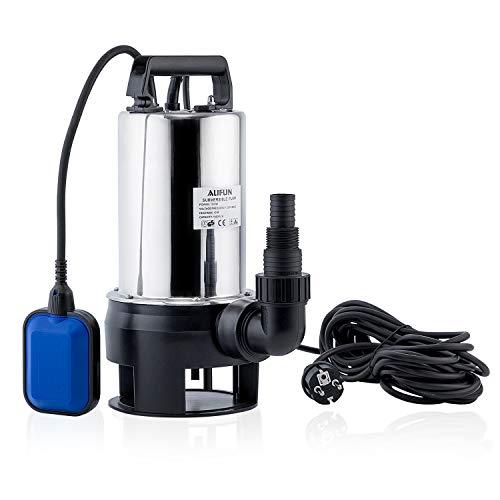 Aufun Schmutzwasserpumpe Tauchpumpe 1100 Watt Pumpen Förderleistung max. 16500 l/h, max. 10 m Förderhöhe, Fremdkörper bis Ø30 mm, Brunnenpumpe Gartenpumpe, Schwarz + Blau