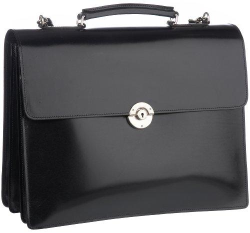 Leonhard Heyden Windsor 3133-001, Herren Aktentasche, drei Fächer, schwarz, groß