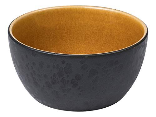 BITZ Schüssel, Schale, Müslischale, Snackschale aus Steingut, 14 cm im Durchmesser, schwarz/bernsteinfarben