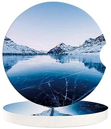 Posavasos para bebidas de coche, 4 piezas, el lago congelado rodea las montañas, con una muesca de dedo para una fácil extracción del portavasos automático