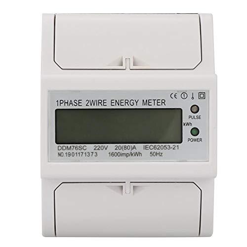 Eenfasige Digtal stroommeter, 220V / 230V 20-80A energieverbruik wattmeter voor DIN rails KWh meter met LED-display