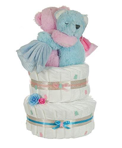dubistda© Windeltorte Zwillinge Bärengeschwister inkl. 2x Spieluhr Teddybär - Geschenk für Zwillinge zur Geburt - inkl. 2 süßen Spieluhren / 50-teilig (rosa/blau)