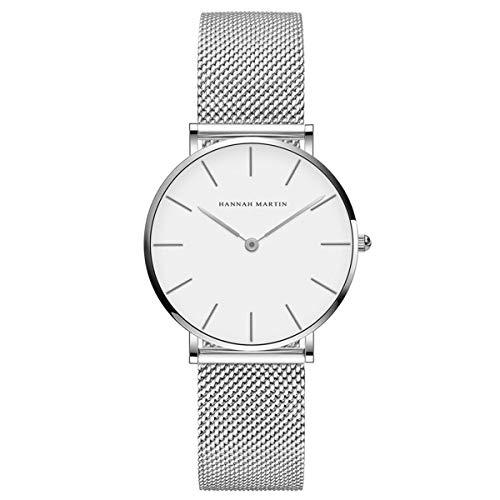 Hannah Martin Damenuhr Quarz Armbanduhr Set Minimalistisch Geschäft Wasserdicht Edelstahl Mesh Armband Uhr