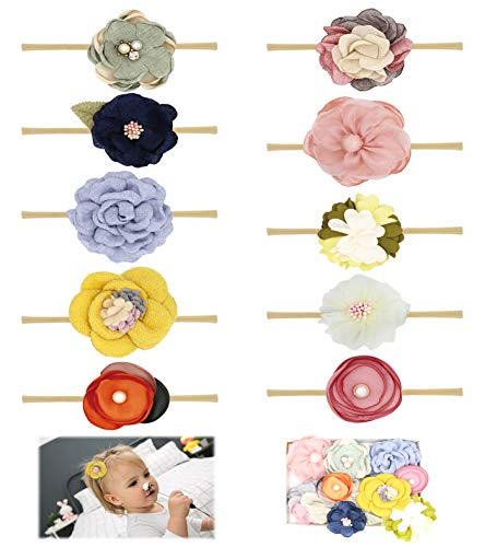 Baby Girl Headbands Bows Spring Flowers,10 Pack Soft Nylon...