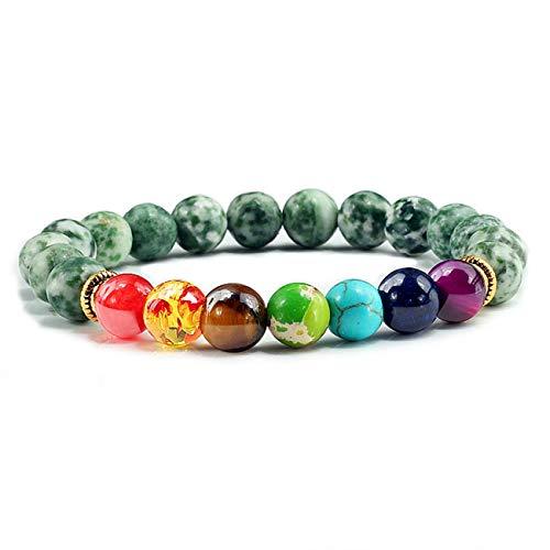 Baostic Armschmuck Natural Stone Tiger Eye 7 Chakra Bracelets & Bangles Yoga Balance Beads Prayer Elastic Bracelet Men Pulseira Masculina Green Dot