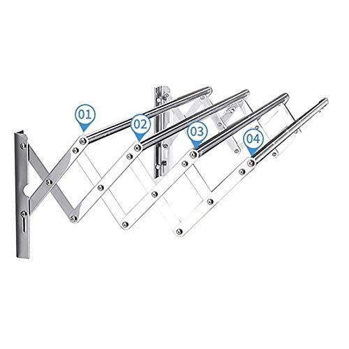 LLLD Tendedero Extensible Inoxidable Práctico Tendal Plegable con 4 Barras para Secar Ropa En El Lavadero Compacto Tendedero Pared Tipo Acordeón Ideal para Ahorrar Espacio (Size : 50cm/19.7in)