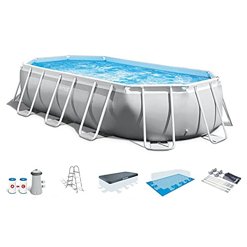 Intex 26797EH 20ft x 10ft x 48in 5 Person Prism Frame Oval Swimming Pool Set with Ladder, Cover, Ground Cloth, Filter Pump, and Protective Canopy