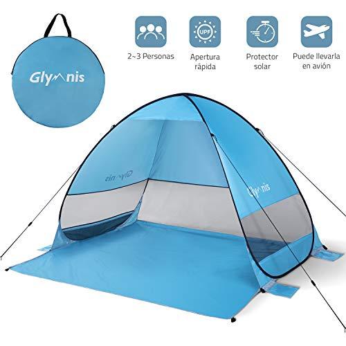 Glymnis Tienda de Playa Pop Up 2-3 Personas Tienda Instantánea Automática Tienda de Campaña Portátil UPF 50+ de Gran Tamaño 200×165×130 cm Azul