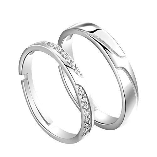 Ostory 指輪 シンプル 個性的な ペアリング シルバー925純銀製 ペア指輪 カップル リング 婚約リング 婚約指輪 スライド調整 フリーサイズ レディース メンズ アクセサリー