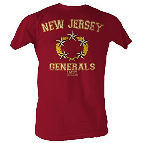 A&E Designs USFL T-Shirt New Jersey Generals Red Heather Tee, Small
