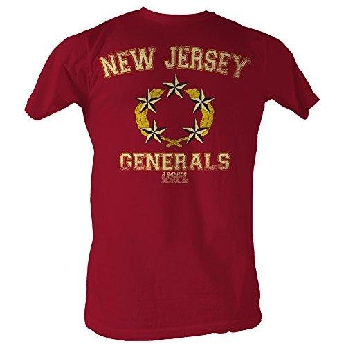 A&E Designs USFL T-Shirt New Jersey Generals Red Heather Tee, 2XL