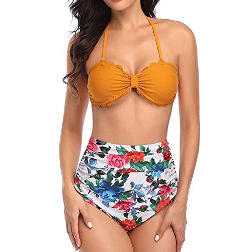 Zottom Damen süße Stil Strand Badeanzug sexy schlanke muschelform Bikini Blumen Obst Druck zweiteiliges Set(Gelb,X-Large)