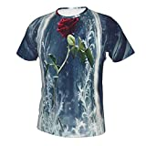 Men's Boys 3D Printing Beauty The Beast Rose Shirt, Short Sleeve Crewneck Henley Shirt Premium Fitted Sportswear for Beach Surf Exercise, Fast Dry/Sweatproof