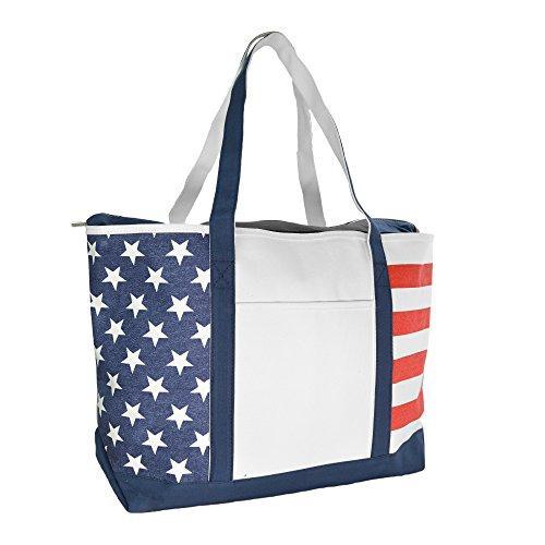 DALIX Striped Boat Bag Premium Cotton Canvas Tote Black, Red, Pink, Navy Blue, Purple (Stars-Stripes)