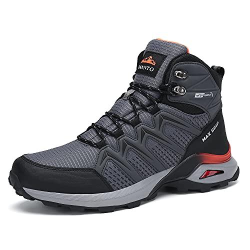 Dannto Hombre Botas de Nieve Invierno Botines Zapatos Cálido Fur Forro Aire Libre Boots Antideslizante Calientes zapatos de Senderismo para Trail Urbano Senderismo Esquiar Caminando(Gris-B,43)