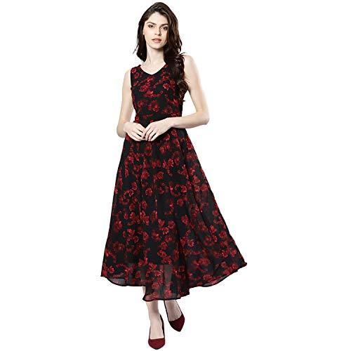 Harpa Synthetic a-line Dress (GR5759_Black_Large)