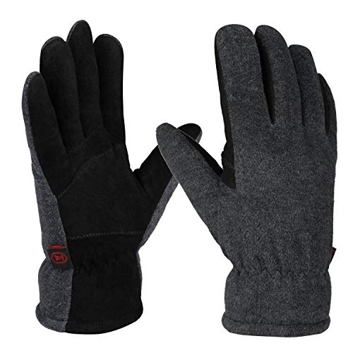 OZERO Winter Gloves for Men and Women,Warm Deerskin Leather Gloves for Cold Weather (L, Grey)