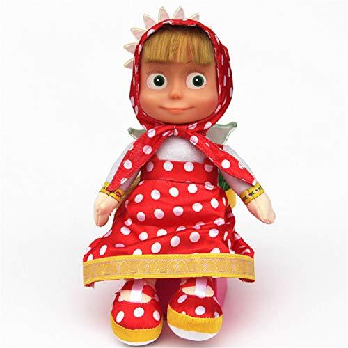 iBaste Muñeca de peluche de Masha y el oso, modelo de invierno Masha y Oso juguete de peluche Big Eye, juguete sin movimiento
