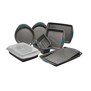 Rachael Ray 47025 Yum-O Nonstick Bakeware Set, 10 Piece, Gray with Orange Grips