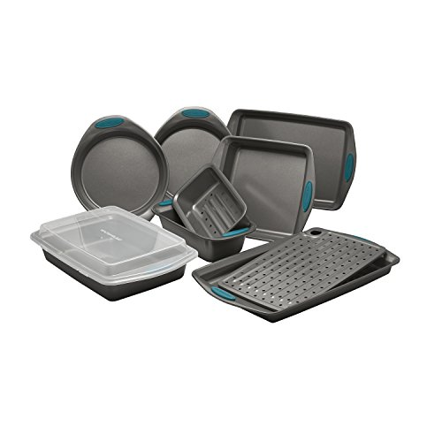 Rachael Ray 47025 Nonstick Bakeware Set with Grips includes Nonstick Bread Pan, Baking Pans, Cookie Sheet, Baking Sheet and Cake Pans - 10 Piece, Gray with marine blue grips