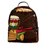 ATOMO Casual Mini mochila africana percusión colorido djembe música pu cuero viaje bolsas de compras Daypacks