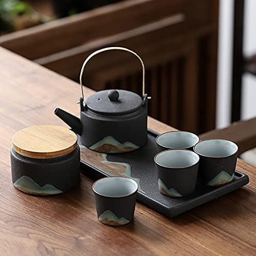 ASDWS Juego de té de Porcelana, Taza de té de 50 ml, Tetera y Bandeja de 220 ml, Tazas de cerámica de té y café, Servicio de té para Adultos, una Tetera, 4 Tazas de té y 1 Bote de té