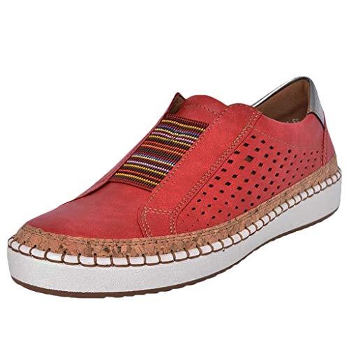 Damen Slip On Sneaker Atmungsaktive Hollow Out Lederschuhe Platform Flache Schuhe Slipper Low-top Rutschfeste Loafer Schuhe Lässig Elegant Laufschuhe Freizeitschuhe