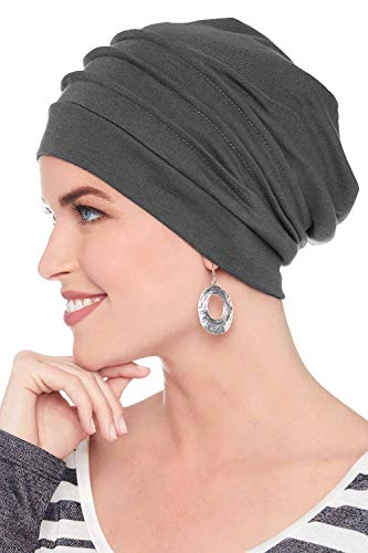 Headcovers Unlimited Slouchy Snood-Caps for Women with Chemo Cancer Hair Loss Graphite