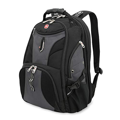 SWISSGEAR 1900 ScanSmart Laptop Backpack | Fits Most 17 Inch Laptops and Tablets | TSA Friendly Backpack | Ideal for Work, Travel, School, College, and Commuting - Grey/Black