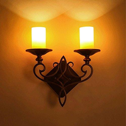 LHTTCZZB. LED a doppia testa Candelabro a parete Lanterna Vintage American rurale Lampada da parete a candela Continental Corridoio Corridoio Hotel Parete soggiorno Applique a muro