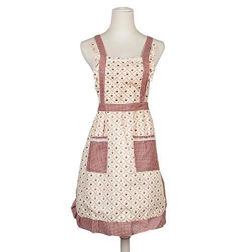 RayLineDo Stilvolle Rose Blumenmuster Frauen Köche Kochen Koch Schürze Wappenrock mit Doppel Doppeltaschen
