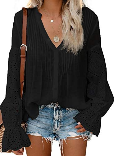 Aleumdr Womens Sexy Button Down V Neck Fall Blouses Hollow Out Lace Crochet Ruffle Long Sleeve product image
