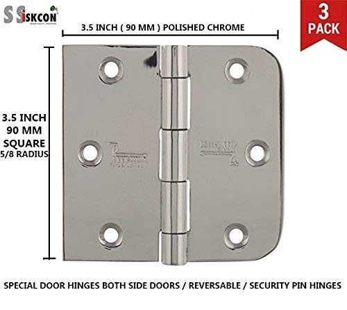 s siskcon 3.5 inch Door Butt Hinges Stainless Steel Set of 3 Mirror 32 Indoor Outdoor Nrp Security pin Lock Residential Commercial Gates 1 inch = 25mm - Pack of 1