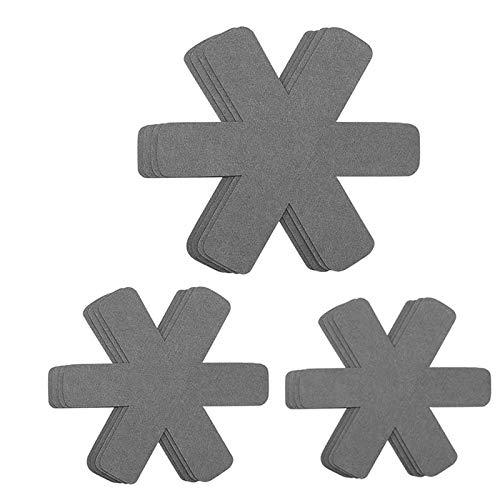 SODIAL 12 Pièces Séries 3 Tailles Différentes Protecteurs de Casserole,Tampons de Casserole Plus Grands et Plus épais pour Protéger et Séparer Vos Ustensiles de Cuisine (Gris)