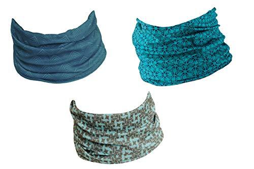 Hilltop 3 x wielofunkcyjna chusta na głowę, chusta na szyję, bandana, zestaw 3 szt. w wybranych wzorach, chusta na wąż, dla kobiet i mężczyzn, Kółka Blue Wind, jeden rozmiar