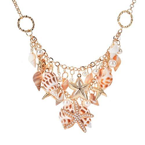 Hengxing - Gargantilla de playa con cadena de perlas de imitación