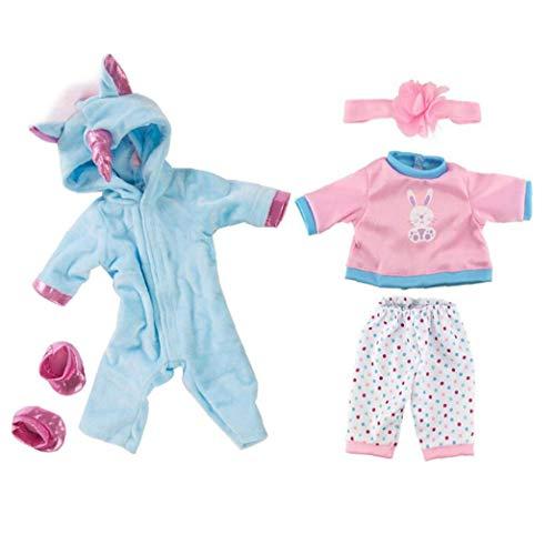 JBNS Puppenkleidung American Girl Puppen Unicorn Jumpsuit Sets Einhorn Kostüm Overall-Baby-Puppen-dekor Kleidung Blau Und Pink 2 Stück