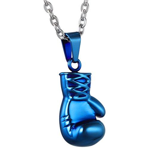 JewelryWe Schmuck Edelstahl Herrschsüchtige Boxhandschuhe Männer Anhänger mit Halskette, Herren Kette, Blau, mit Geschenk Tüte