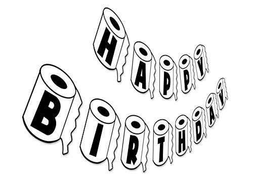 Toilet Paper Birthday Banner, Quarantine Happy Birthday Sign, Funny Black White Bday Party Bunting