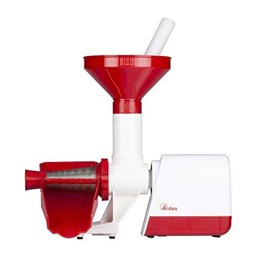 Ardes - Pasador de Tomate eléctrico con Filtro de Acero Inoxidable, 130 W, Rojo y Blanco