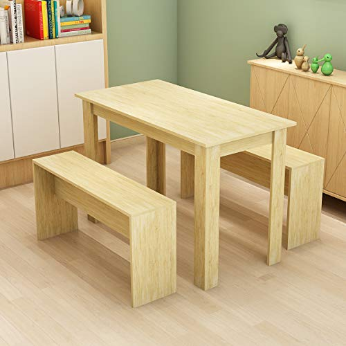 Bespivet 3 -Piece Dining Room Set Wooden Dining Table and 2 Benches Set Oak Kitchen Furniture for Small Space 4 People Timber Garden Table Set