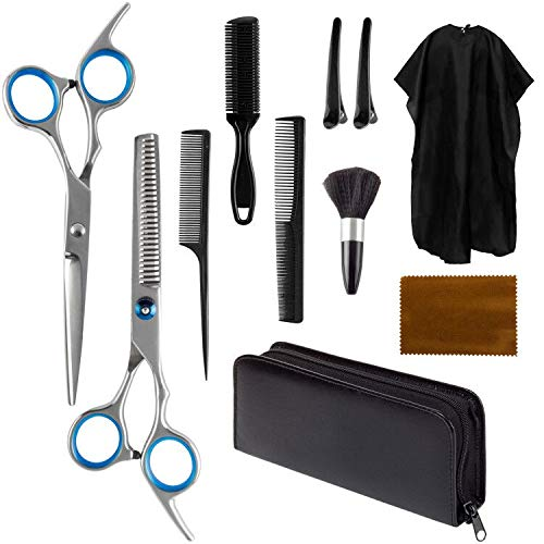 11 Pcs Professional Hair Cutting Scissors Set,Stainless Steel Hairdressing Scissors for Home Salon Barber Pet Grooming