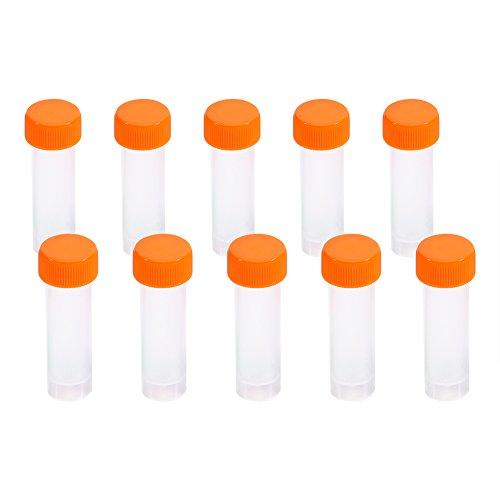 Kunststoff Reagenzgläser,Graduierte Labor Plastik Röhrchen mit Silikondichtung Gefrorene Reagenzgläser Fläschchen Schraubverschluss Kappe Pack Container 10 stücke 5 ml