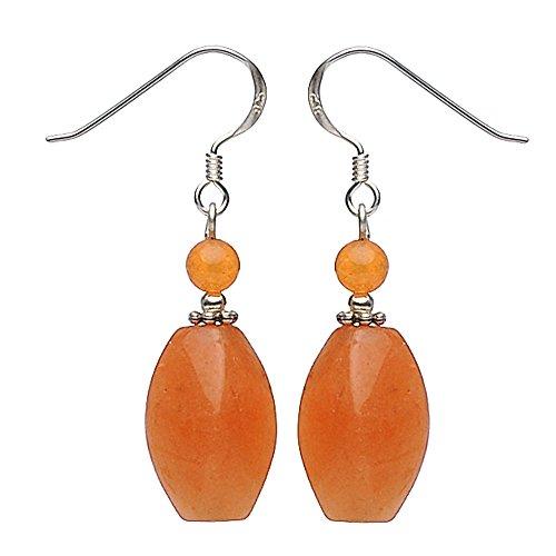 Ohrringe Ohrhänger aus rotem Aventurin & 925 Sterling Silber rot-orange Damen