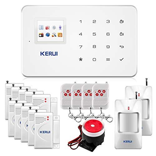 KERUI G18 gsm y SMS Sistema de Alarma de Seguridad de la Oficina en Casa InalÁMbrica Auto Dial Kit de Bricolaje con Sirena de Interiores PIR Detector de Movimiento Control Remoto iOS Android App