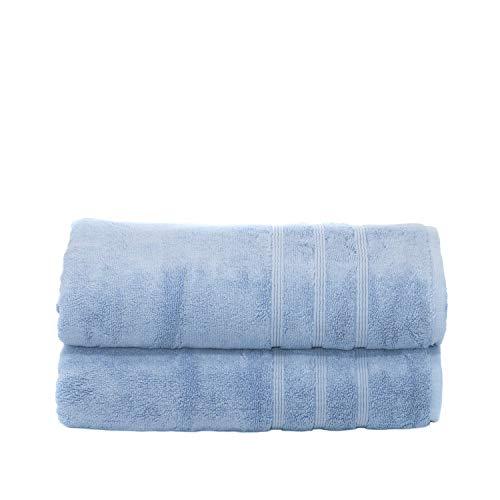 Mosobam 700 GSM Hotel Luxury Bamboo-Cotton, Bath Towels 30X58, Allure Blue, Set of 2, Quick Dry, Soft Spa-Like Turkish Bathroom Sets, Oversized Extra Large Body Sheet Towel, Prime Bulk