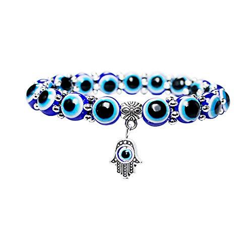 AILUOR Evil Eye Bead Bracelets for Women, Evil Eye Hamsa Blue Beaded Charm Stretch Bracelet Hand of Fatima Turkish Evil Eye Lucky Bracelet for Protection and Blessing (8mm)