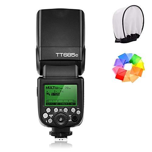 【1年保証&技適マーク付き】Godox TT685C Speedlite Flash E-TTL IIオートフラッシュ オートストロボ FEC HSS 後幕シンクロ モデリングフラッシュなどの機能 Canonキャノン一眼レフカメラに対応 12色種類フィルタキットとディフューザーソフトボックス同梱