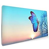 マウスパッド 大型 蝶 写真 タンポポ 青空 朝日 昇るゲーミング デスクマット かわいい 防水性 耐久性 滑り止め 多機能 超大判 40cm×90cm おしゃれ